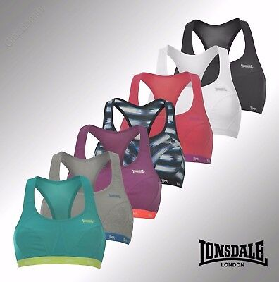 Womens Ladies Sports Crop Top Bra Exercise Gym Running Lonsdale Size 32-38