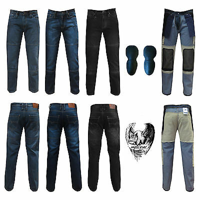 Mens Biker Motorcycle Motorbike Denim Jeans Trousers Pant with Protective Lining