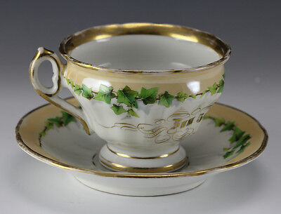 1867 German Porcelain Large Footed Cup & Saucer KPM 50th Birthday Commemorative