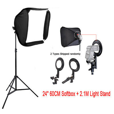 "24"" Photo Studio Soft Box Flash Speedlite Softbox Diffuser for Speedlight+Stand"