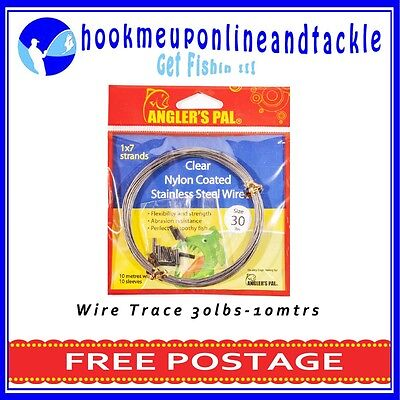 2x30lbs x 10mt Roll 1x7Strand Clear Nylon Coated Stainless Steel Wire 10 Sleeves