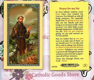 St Francis with Prayer for Pets - Laminated Holy Card