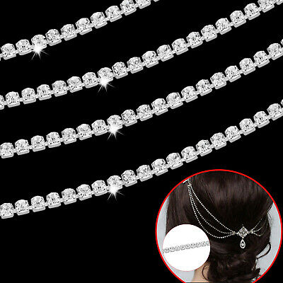 1 Metre Womens Chain Belt Rope Rhinestone Trim Diamante Silver Crystals Necklace