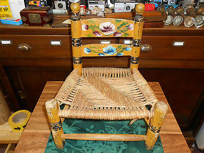 Childs Folk Art Ladder Back Rush Seat