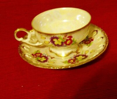 VINTAGE PIERCED LUSTER  FLORAL GOLD RIMMED CUP + SAUCER FLOWERS - FOOTED CUP