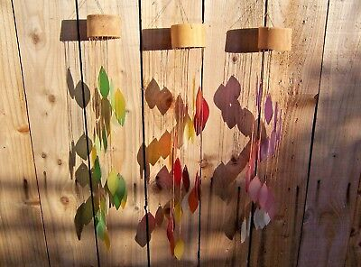 FairTrade Hand Made Glass Falling Leaf Spiral Garden Wind Chime Mobile Windchime