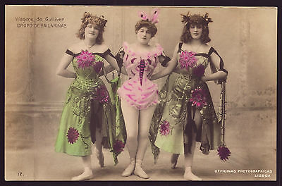 1900s Theatre Dancers Women STAGE ACTRESS 1900s old real Photo Postcard PORTUGAL