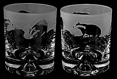 *BADGER GIFT* Boxed Pair of GLASS WHISKY TUMBLERS with BADGER FRIEZE design