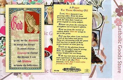 Serenity Prayer - Short Form & Prayer for Those Growing Old- Laminated Holy Card
