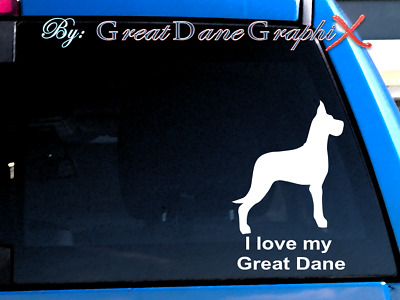 """I love my Great Dane """"Cropped"""" Vinyl Decal Sticker / Color Choice - HIGH QUALITY"""