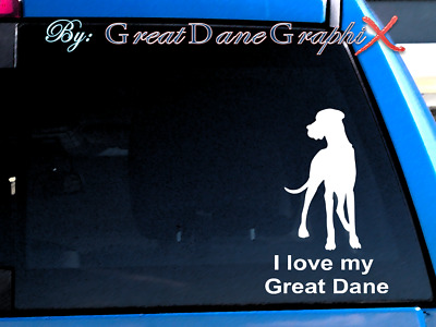 "I love my Great Dane ""Natural"" Vinyl Decal Sticker / Color Choice - HIGH QUALITY"