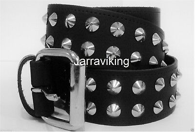 2 Row Studded Black Leather Conical Belt Biker Goth Punk Sizes S M L Xl 2Xl