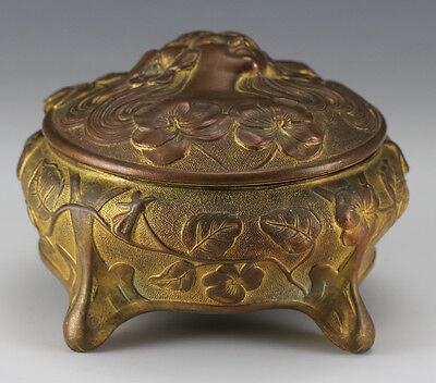 Art Nouveau Gilt Bronze Footed Box Jennings Brothers Raised dimensional Lady