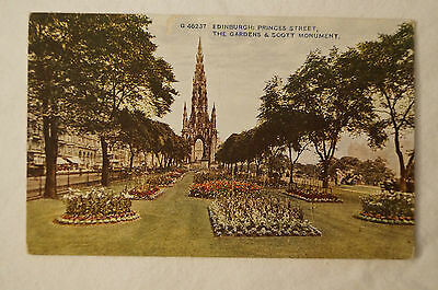 Edinburgh - The Gardens and Scott Monument - Vintage - Postcard.