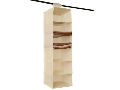 Cream 6 Section Hanging Wardrobe Storage Shoe Clothes Sweater Organiser Tidy