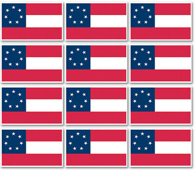 "12 qty of 3""x5"" Flag Decal Sticker - FIRST CONFEDERATE AMERICAN 7 STARS"