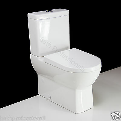 Toilet WC Close Coupled Bathroom Art Square Compact Ceramic Seat Cover T17 KL