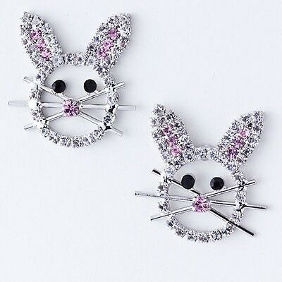 EASTER BUNNY RABBIT RHINESTONE WITH WHISKERS & PINK NOSE PIERCED EARRINGS
