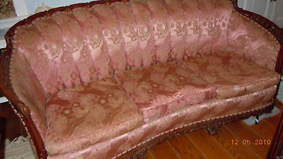Elegant French Pink Brocade Carved/pierced Bergere Sofa &chair