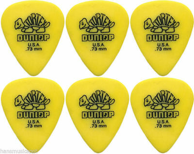 6 x Jim Dunlop Tortex Standard .73MM Gauge Guitar Picks *NEW* Plectrums, Yellow