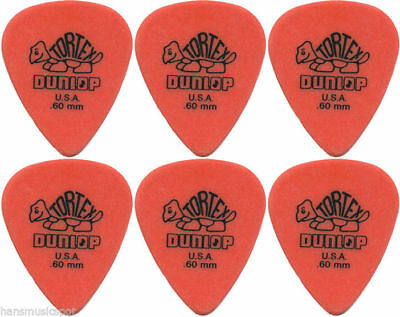 6 x Jim Dunlop Tortex Standard .60MM Gauge Guitar Picks *NEW* Plectrums, Orange