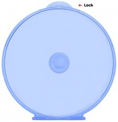 100 Blue Color Round ClamShell CD DVD Case, Clam Shells with Lock