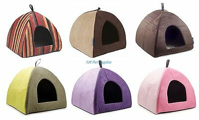 Ancol Sleepy Paws Cat Small Dog Timberwolf Rich Stripe Riviera Pyramid Igloo Bed