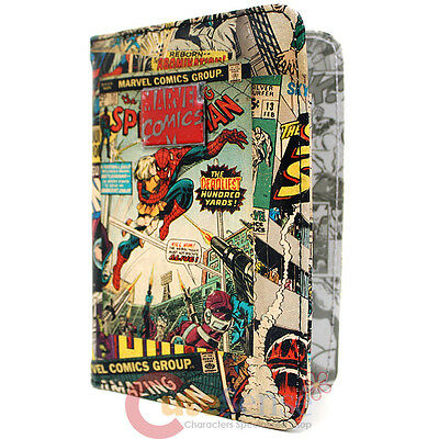 Marvel Retro Comics Heroes Multi Character Passport Case Cover Faux Leather