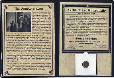 Widows Mite Ancient Coin Certified Authentic with Deluxe Portfolio