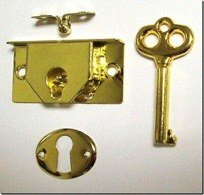 "M-1880 - BRASS PLTD STEEL HALF MORTISE CHEST LOCK 1-3/4""wide x 7/8""high x 1/4"""