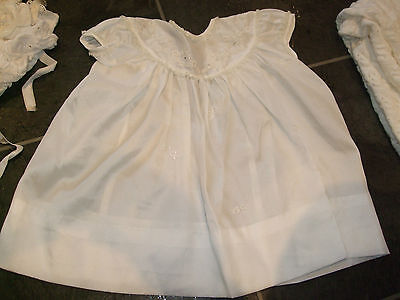 VINTAGE ORIGINAL WHITE SATIN BABY DRESS WITH Broderie Anglaise DATED 1960'S VGCC