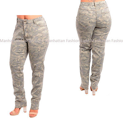 Camouflage -14 16 18 20 22- Gray,Stretchy Camo Army Fashion Pants