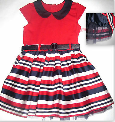 New girls party dress navy red age 3-6 6-9 9-12 12-18 18-24 months 2-3 3-4 4-5