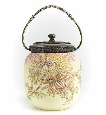 Crown Milano Art Glass Biscuit Jar Raised hand painted enamel floral, c1920