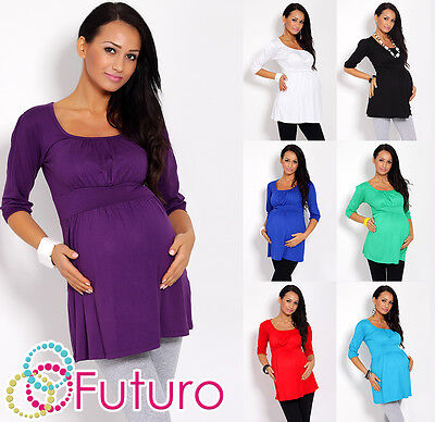 Women's Maternity Tunic 3/4 Sleeve Scoop Neck Top Pregnancy Sizes 8-18 5006