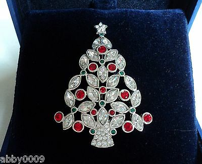 Signed 2002 Swan Swarovski Red & Clear Crystal Christmas Tree Brooch Pin SALE