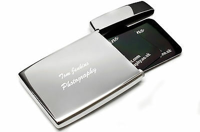 Personalised Flip Top Stainless Steel Executive Business Card Holder, Engraved