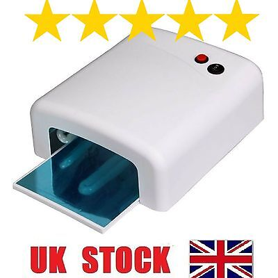 36W UV Lamp Nail Art Gel Curing Tube Light Dryer White with Timer Function
