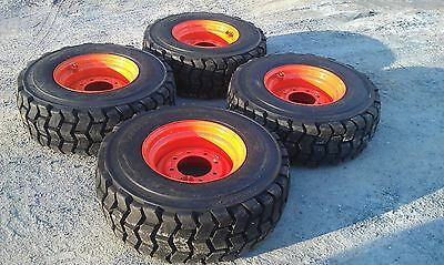 4 NEW 12X16.5 Skid Steer Tires & Rims for Bobcat-12-16.5 14 ply-NON DIRECTIONAL