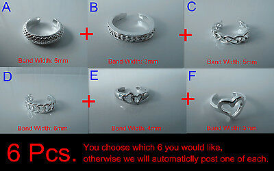 6x 925 Sterling Silver (plated) Toe Rings, ALLERGY FREE, Australia post is FREE.