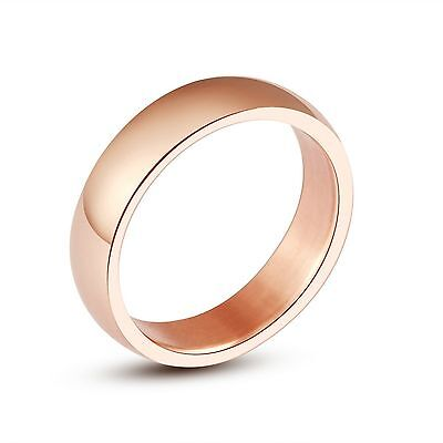 "5mm High Polish ""ROSE GOLD"" Stainless Steel WEDDING BAND Ring – FREE Gift Pouch"