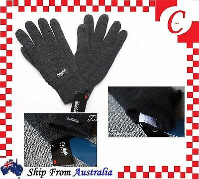 MEN WINTER Thermal Knitted THINSULATE 40 Gram INSULATION  POLAR FLEECE GLOVES