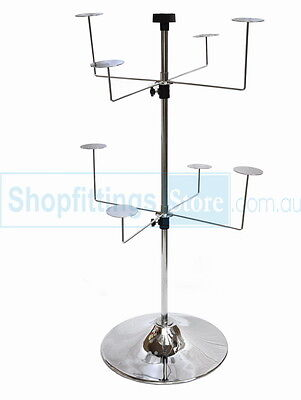 Counter Top 2 levels 8 Hat Holders Spinner Display Stand Rack with Metal Base