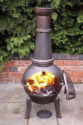 Cast Iron Chimenea Patio Heater Garden Fire Pit Cast Iron with Steel Chiminea