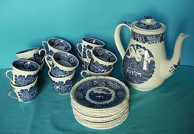 service à café / adams england / Blue and White English Scene coffee set cup