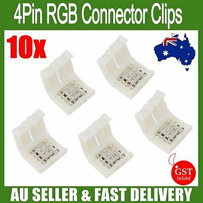 10x 4Pin RGB free soldering connector clips led strip lights 3528 5050 10mm