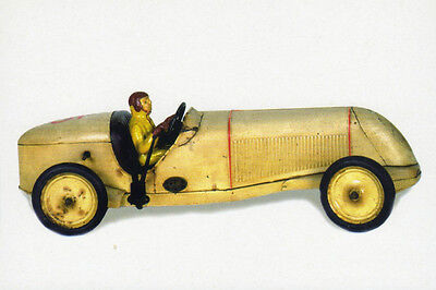 Museum Postcard old Lithographed TIN TOY: MERCEDES Race Car. France JEP 1940s