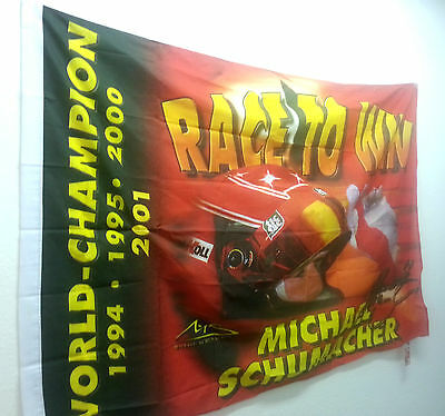 "F1 World Champion Michael Schumacher Fahne Flagge Flag "" Race To Win "" WC841"