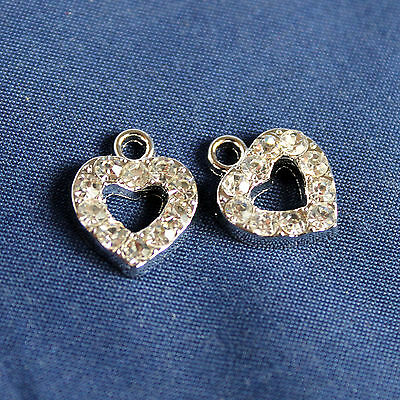 2 pz - Charms Cuore + Strass - in metallo - mm 15
