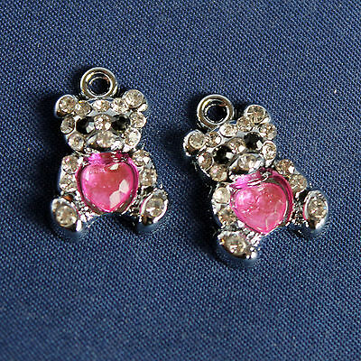 Charms Orsetto + Strass - in metallo - mm 20